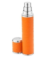 Creed Refillable Leather And Silvertone Pocket Atomizer Orange .