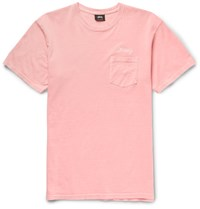 Stussy Embroidered Cotton Jersey T Shirt Coral