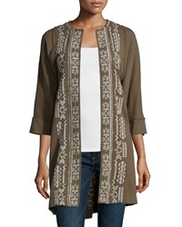Johnny Was Lelko Embroidered Coat W Raw Seams Women's Grey