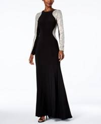 Xscape Evenings Sequined Illusion A Line Gown Black Silver