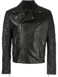 Versace Patterned Sleeves Biker Jacket Black