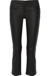 Proenza Schouler Cropped Leather Bootcut Pants Black