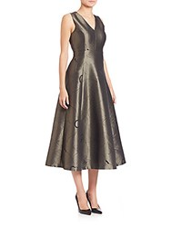 Lk Bennett Metallic Flared Tea Dress Gold
