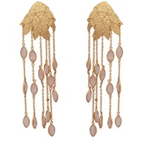 Carousel Jewels Textured Gold Leaf And Rose Quartz Earrings Gold Pink Purple