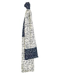 Jaeger Navy And White Speckles Print Scarf Blue