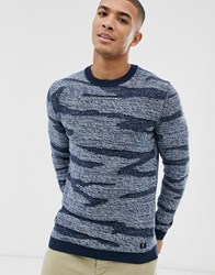 Tom Tailor Jumper With Camo Zig Zag Design In Navy