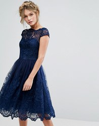 Chi Chi London Premium Lace Midi Dress With Cap Sleeve Navy Navy