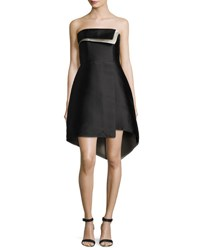 Halston Folded Strapless High Low Cocktail Dress Black Champagne Black Champagne