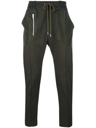 Les Hommes Zip Detail Drawstring Trousers Green