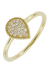Bony Levy 18K Yellow Gold Pave Diamond Teardrop Ring 0.09 Ctw