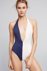 Anthropologie Solid And Striped Willow Colorblocked One Piece Navy