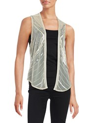 Design Lab Lord And Taylor Mesh Sequin Vest White