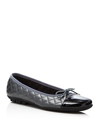 Paul Mayer Cozy Chelsea Metallic Quilted Ballet Flats Black Pewter