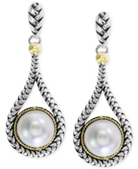Effy Collection Balissima By Effy Cultured Freshwater Pearl Teardrop Earrings In 18K Gold And Sterling Silver 8Mm
