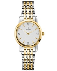 Bulova Women's Diamond Accent Two Tone Stainless Steel Bracelet Watch 30Mm 98P115 Women's Shoes