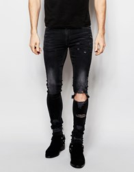 Asos Extreme Super Skinny Jeans With Open Knee Rips Black