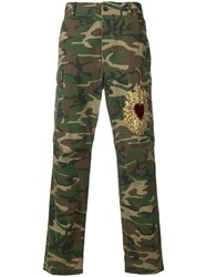 Dolce And Gabbana Embroidered Cargo Trousers Green
