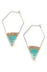 Panacea Women's Crystal Hoop Earrings Turquoise