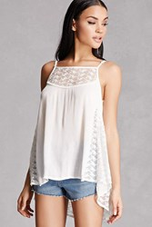 Forever 21 Embroidered Mesh Swing Top Ivory