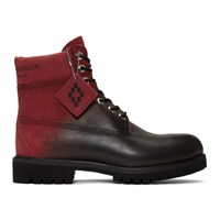 Marcelo Burlon County Of Milan Red And Black Timberland Edition Nubuck Boots