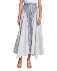 Adam By Adam Lippes Mixed Stripe Poplin Midi Skirt Multi