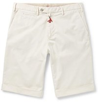 Isaia Slim Fit Stretch Cotton Twill Shorts Cream