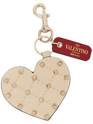 Valentino Heart Shaped Studded Key Ring Nude And Neutrals