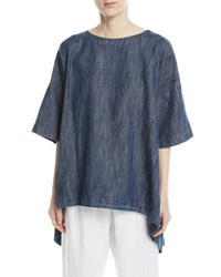 Eskandar Bateau Neck High Low Linen T Shirt Blue