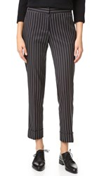 James Jeans Cuffed Slouchy Trousers Black Striped