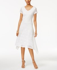 Sangria Lace Handkerchief Hem A Line Dress Ivory