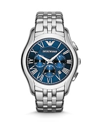 Emporio Armani Stainless Steel Blue Dial Watch 44.5Mm Silver