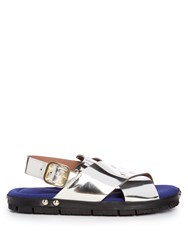 Marni Fusbett Leather Sandals Silver