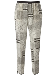 Forte Forte Patchwork Print Trousers Nude And Neutrals
