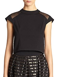 Abs By Allen Schwartz Ponte Mesh Panel Cropped Top Black