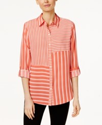Charter Club Striped Roll Tab Shirt Only At Macy's New Coral