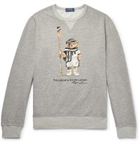 Polo Ralph Lauren Printed Loopback Cotton Blend Jersey Sweatshirt Gray