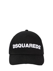 Dsquared Logo Cotton Canvas Baseball Hat Black White