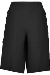 Valentino Scalloped Wool And Silk Blend Shorts Black