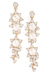 Tasha Women's Crystal And Faux Pearl Drop Earrings