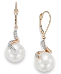 Macy's 14K Rose Gold Cultured Freshwater Pearl 11Mm And Diamond 1 8 Ct. T.W. Earrings White