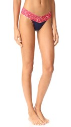 Hanky Panky Cotton With A Conscience Low Rise Thong Navy Bandana
