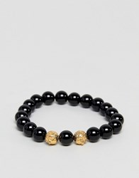 Mister Twin Lion Beaded Bracelet In Black And Gold Black Gold