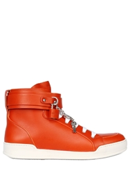 Dsquared Lock And Key Leather High Top Sneakers Orange