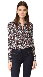 Veronica Beard Goldie Pintuck Tux Blouse Black Navy Red White