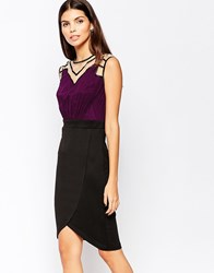 Little Mistress Bodycon Pencil Dress With Neckline And Shoulder Detail Plum