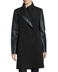 Vera Wang Wool Coat With Faux Leather Detail Black