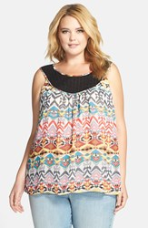 Daniel Rainn Crochet Neck Tank Plus Size Blue Print