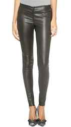 Alice Olivia Zip Front Leather Leggings Black