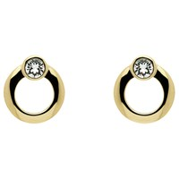 Cachet Polished Plated Swarovski Crystal Stud Earrings Gold