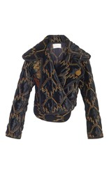 Peter Pilotto Velvet Quilted Cropped Jacket Black